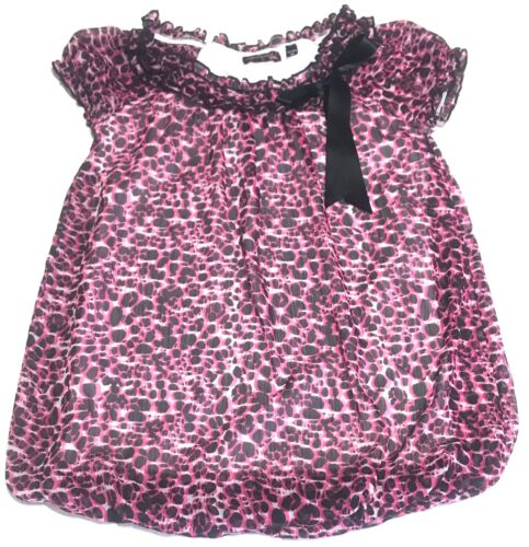 Girls Tempted Bubble Top Blouse Size M 10 / 12 Pink Black Sheer Lined Black Bow