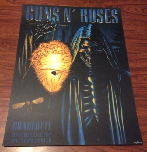 GUNS N ROSES CHARLOTTE NC HORNETS  EVENT POSTER LITHO 9/25 ONLY 53/250 NUMBERED