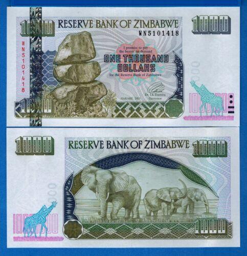 Zimbabwe P-12 1000 Dollars Year 2003 Elephants & Giraffes Uncirculated Banknote