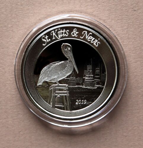2019 St Kitts & Nevis 2 Dollar Pelican,1 oz .999 Silver Proof-Like Coin