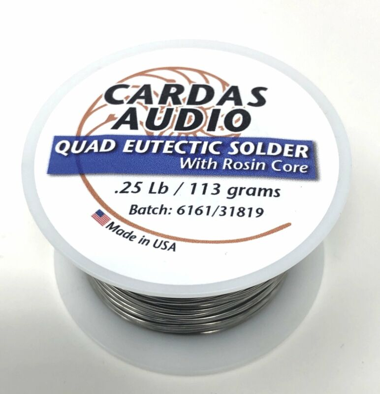 CARDAS AUDIO QUAD EUTECTIC SILVER SOLDER Wire Roll W/Rosin Flux 110Gm 1/4 Lb
