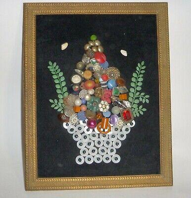 Vintage mixed media art, Shell, button and jewelry on black velvet framed