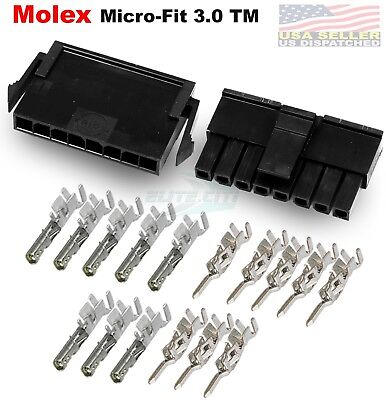 Molex Single Row 8 Pin Male Female Housing W Pins 20-24 Awg Micro-fit 3.0