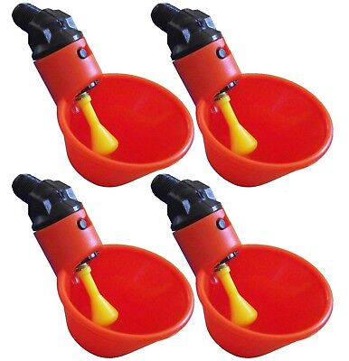 4 Automatic Waterer Drinker Cups Chicken Coop Poultry Chook Bird Turkey Drink