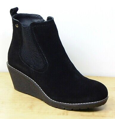 KHOMBU Real SUEDE Ladies WEDGE Sole ANKLE BOOTS ~ Size 4 ~ BLACK