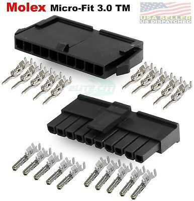 Molex Single Row 10 Pin Male Female Housing W Pins 20-24 Awg Micro-fit 3.0