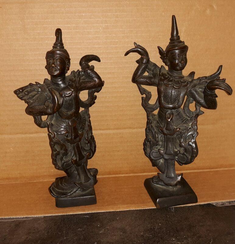 Pair Antique Asian Thai Solid Bronze Dancers Sculpture