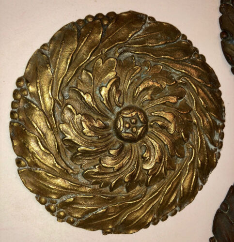 ANTIQUE FRENCH BRASS FURNITURE MEDALLIONS. SET OF 6.