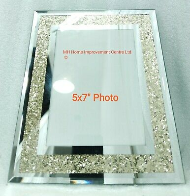 Grande Plateado Reflectante Brillante Marco de Fotos 12.7x17.8cm Oro Crush Borde