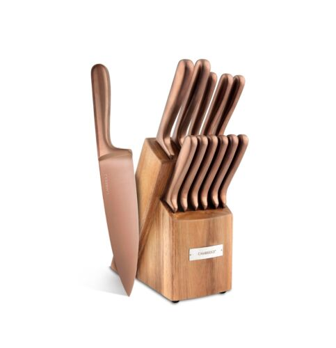 12-Piece Knife Set Kitchen Dining Cutlery Knives with Block Matte Copper New
