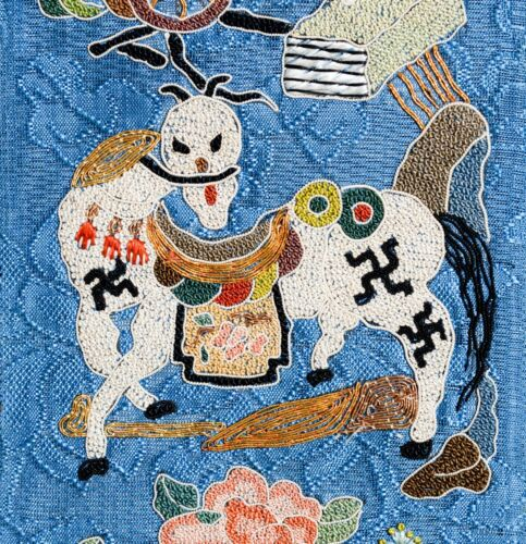 EXCEPTIONAL ANTIQUE 19TH CENTURY CHINESE HORSE SILK TAPESTRY EMBROIDERY SIGNED