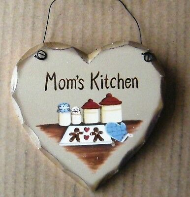 Wood heart MOM'S KITCHEN country Mother gift decor gingerbread wall wood (Moms Kitchen Wall)