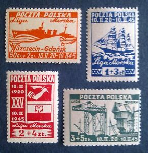 POLAND STAMPS MNH Fi367-70 ScB36-B39 Mi399-02 - Sea League, 1945, clean - Reda, Polska - POLAND STAMPS MNH Fi367-70 ScB36-B39 Mi399-02 - Sea League, 1945, clean - Reda, Polska