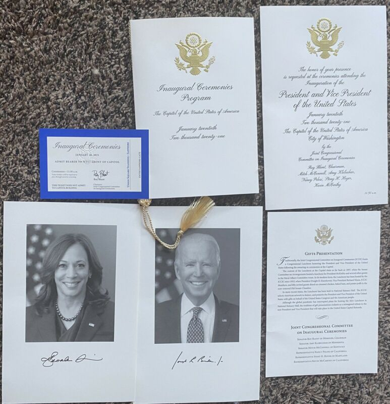 Joe Biden Inauguration Ticket Program invitation Commemorative Package