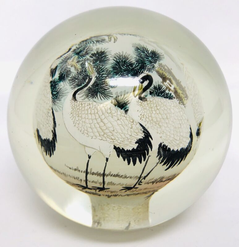 Oriental Asian Inspired Glass Sphere Globe Reverse Hand Painted Paperweight