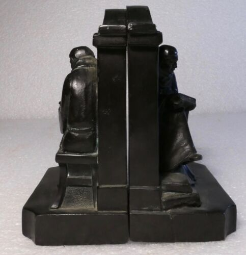 ANTIQUE RONSON CAST BOOKENDS SCHOLAR IN THE LIBRARY