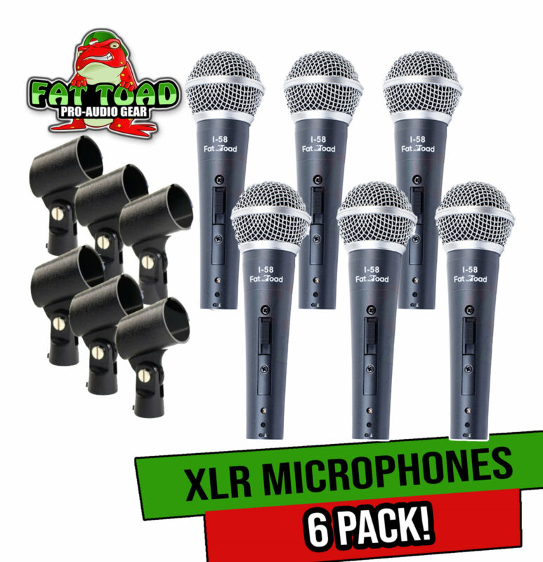 Professional Cardioid Dynamic Vocal Microphones & Clips (6 Pack) by FAT TOAD