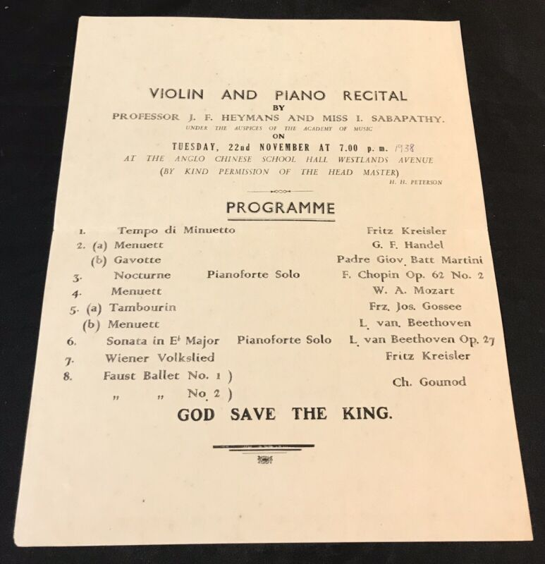 1938 Violin And Piano Recital programme flyer Singapore Anglo Chinese School ACS