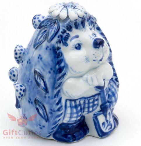 Gzhel porcelain figurine of cute Hedgehog w shovel Гжель