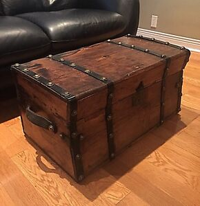 Antique Trunk -Stagecoach 1870's - All Wood - Coffee Table