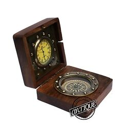 ANTIQUE STYLE WOODEN BOX CLOCK AND COMPASS BRASS HANDMADE TABLE DECOR XMAS GIFT