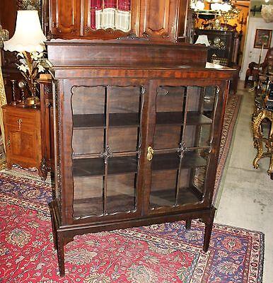 Beautiful English Antique Solid Mahogany Glass Door Display Cabinet.