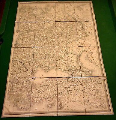 Folding Map - RARE ANTIQUE LARGE 40X26 LINEN FOLDING MAP ARTIC OCEAN NAUTICAL Circa 1850