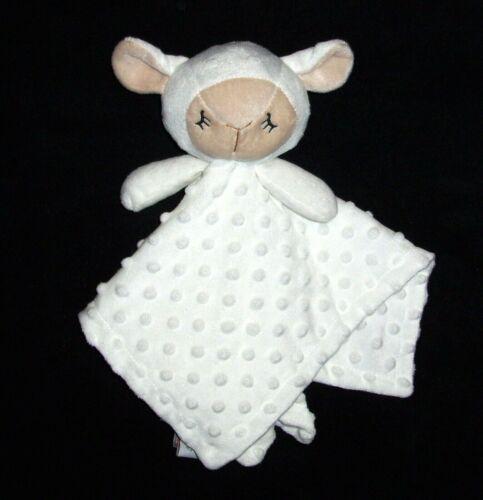 Manhattan Kids White Lamb Sheep Baby Blanket Soft Minky Dot Security Lovey