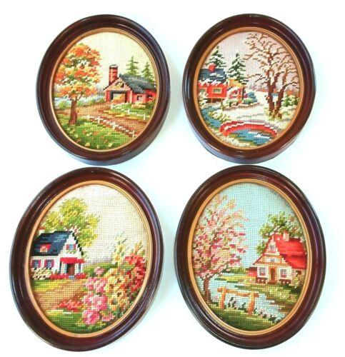 Vintage Finished & Framed  Needlepoint Set of The 4 Seasons