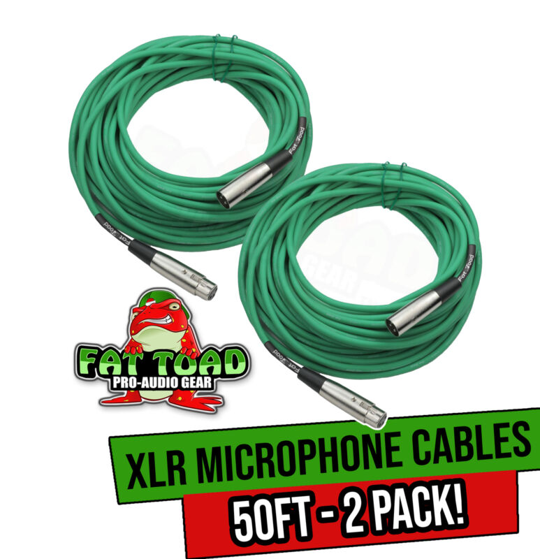 XLR Microphone Cables (2 Pack) by FAT TOAD   50ft Pro Audio Green Mic Cord Patch