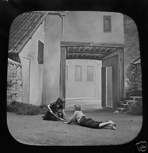 Glass-Magic-lantern-slide-HOW-HARRY-WON-HIS-WIFE-NO-4-C1890-VICTORIAN-TALE