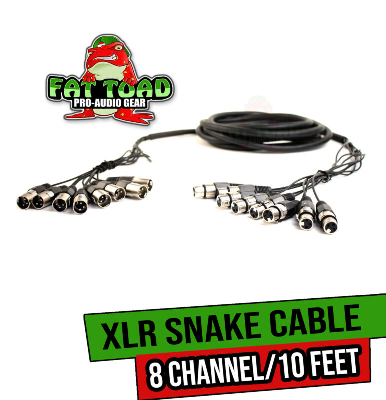 XLR Snake Cable Patch (10ft X 8 Channels) by FAT TOAD   Studio Stage, Live Sound