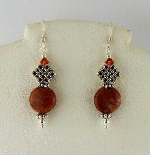 Irish Cork Marble beaded Celtic Knot earrings w/ Swarovski crystals