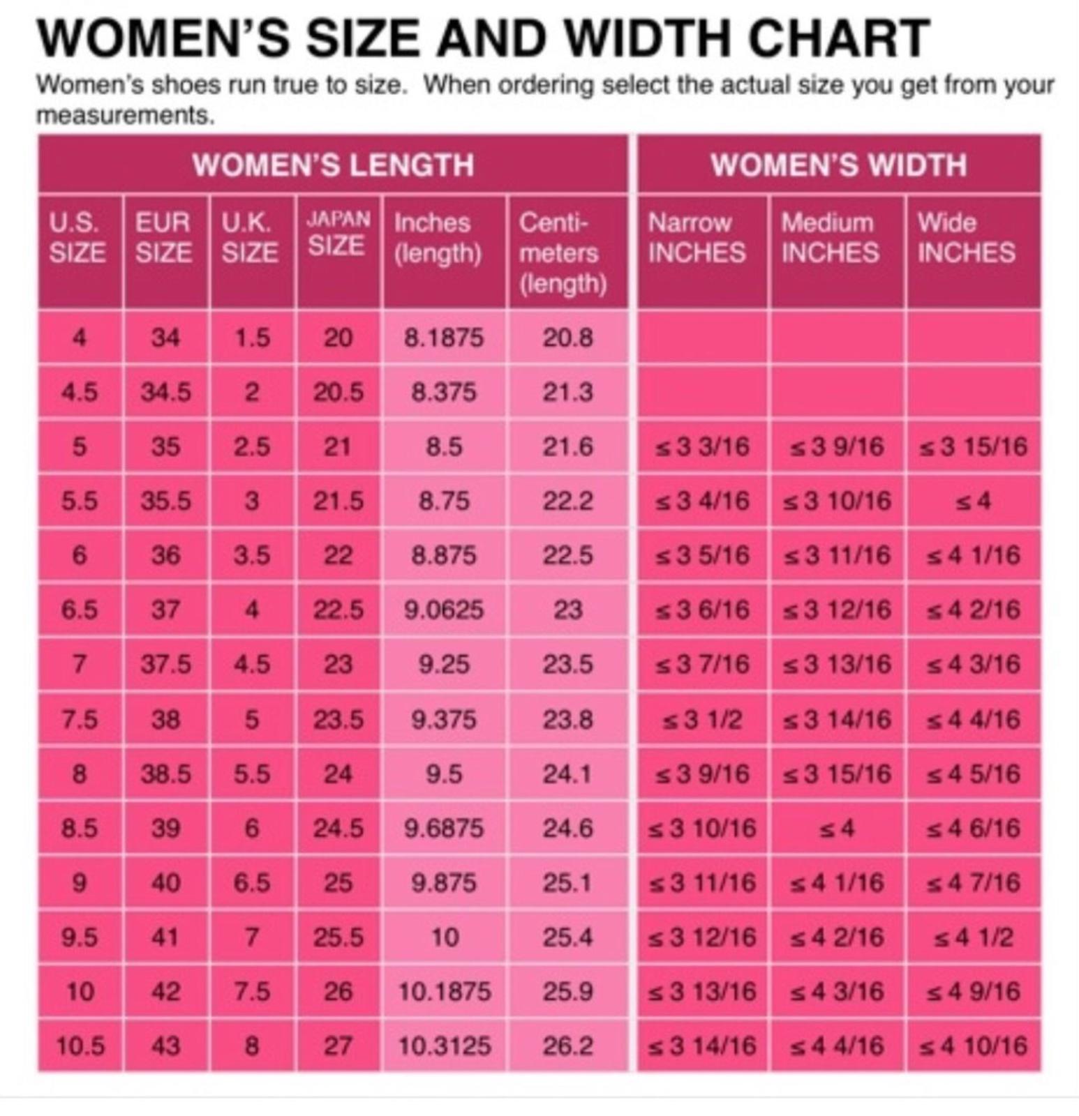 Womens shoe size conversion chart us uk european and japanese womens shoe size conversion chart us uk european and japanese width length publicscrutiny Gallery
