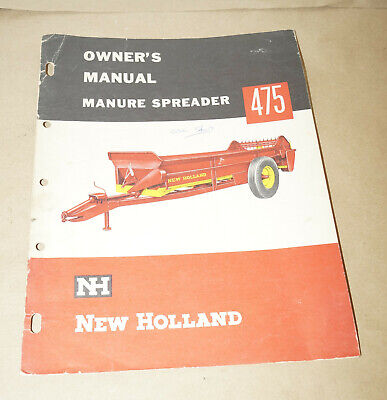New Holland Models 475 Manure Spreader Owners Manual