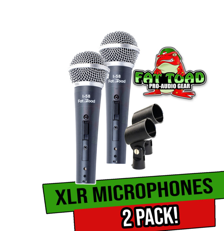 Dynamic Vocal Microphones with Clips (2 Pack) FAT TOAD   Cardioid Handheld