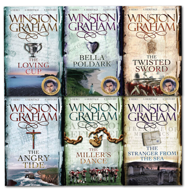 Winston Graham Poldark Series 6 Books Collection Set The Loving Cup, Angry Tide