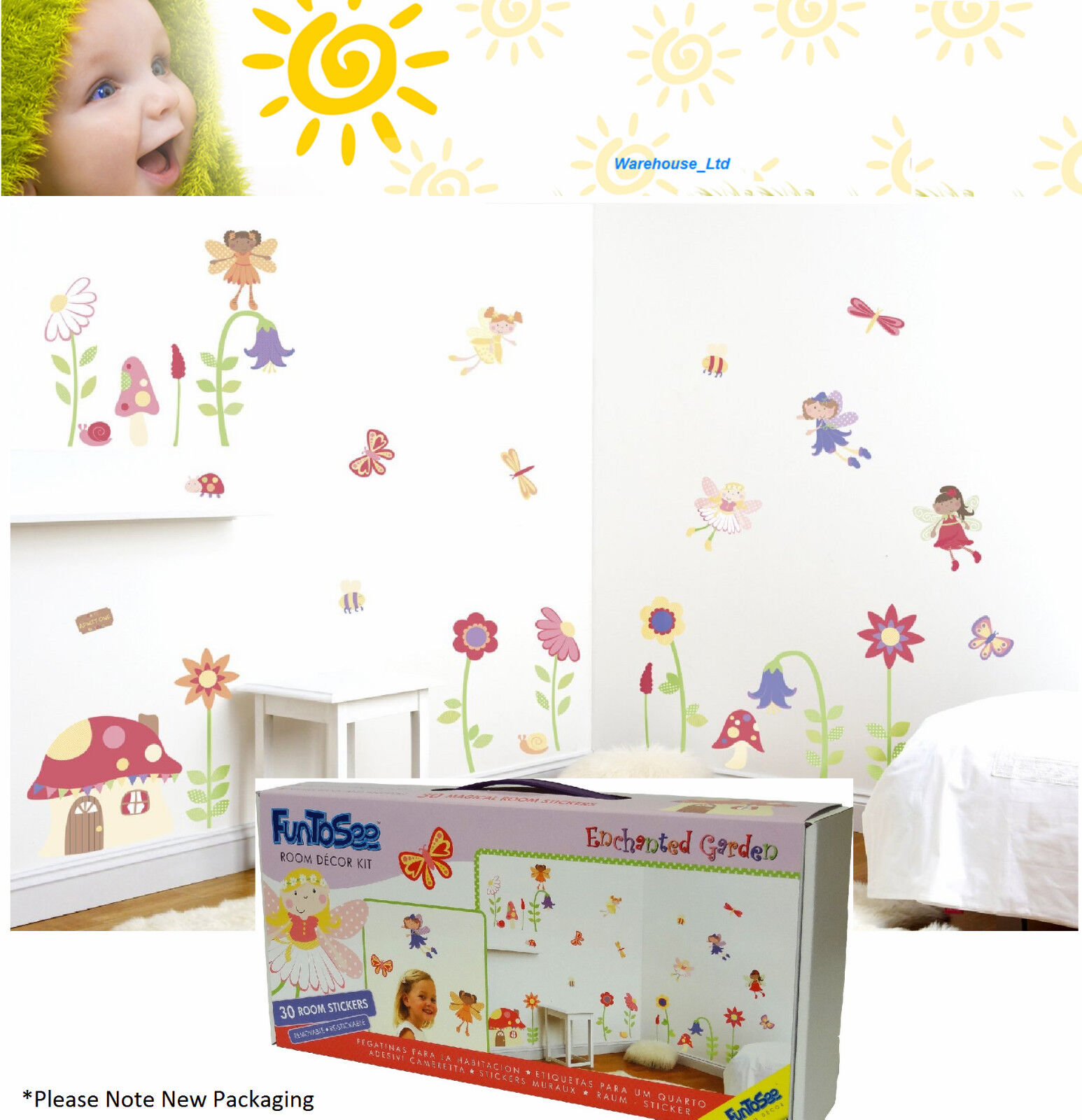 Hungry Caterpillar Wall Stickers Part - 21: GIRLS BOYS Enchanted Garden Room Décor Kit Very Hungry Caterpillar Wall  Stickers