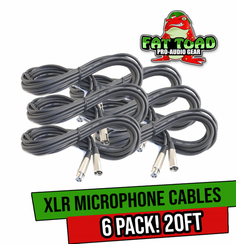 XLR Microphone Cables (6 Pack) by FAT TOAD   20ft Pro Audio Mic Cord Patch
