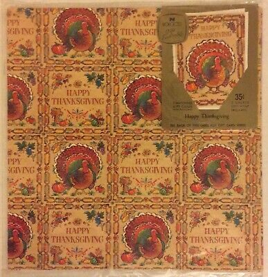 NIP Vintage Norcross Thanksgiving Gift Wrap, 2 Sheets & 2 Cards/Envelopes