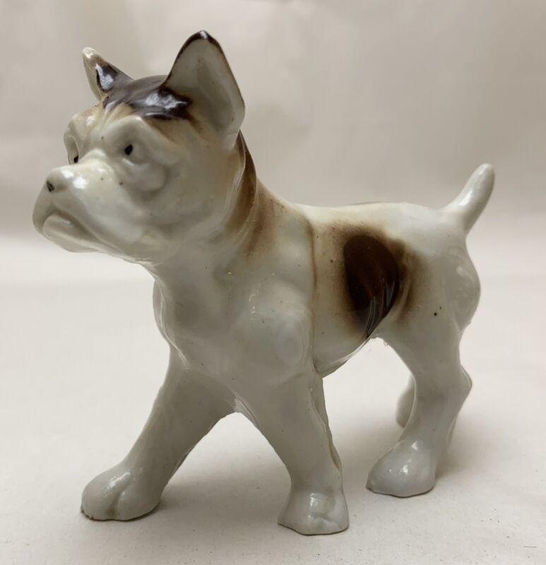 Vtg Porcelain White Brown Spots Pit Bull Dog Bully Bulldog Hound Boxer Figurine