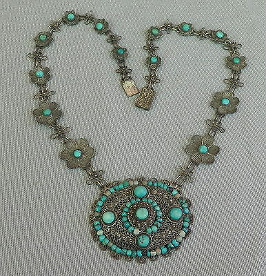 Ornate Vintage Antique Chinese Silver Filigree Turquoise Flower Chain Necklace