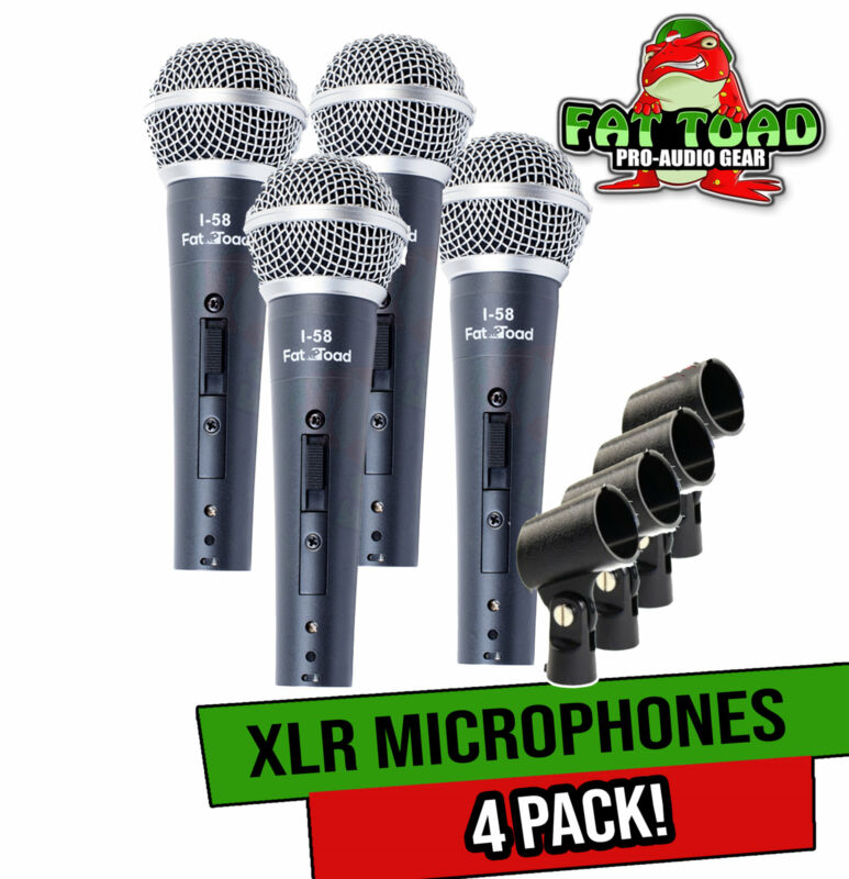 Cardioid Microphones with Clips (4 Pack) by FAT TOAD   Vocal Handheld, Wired