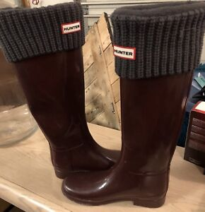 Ladies size 8 Hunter boots with socks