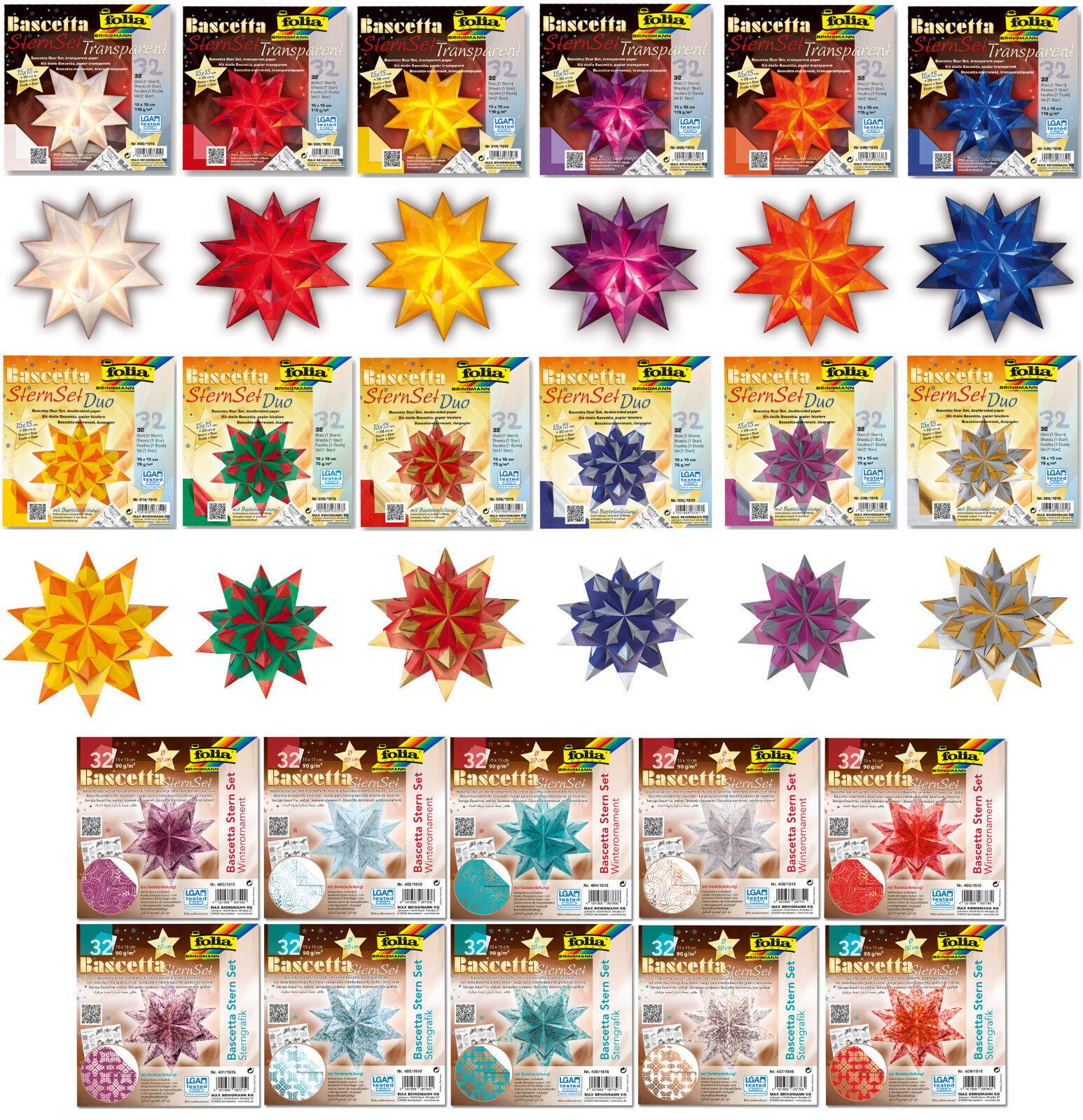 Bascetta Stern Set folia® 32 Blatt, große Farbwahl, viele Größen bis 30x30cm