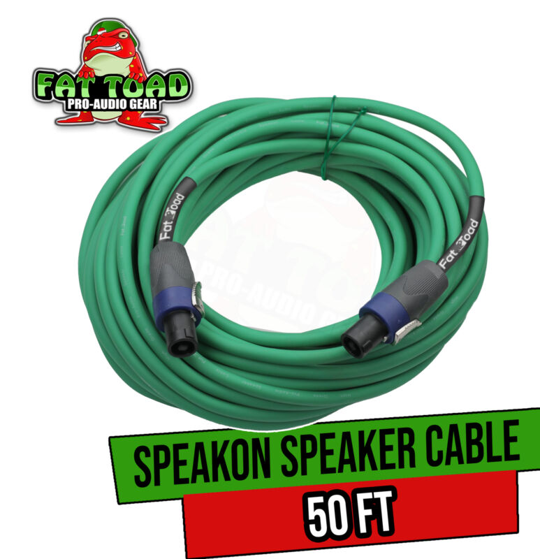 Speakon to Speakon Cable by FAT TOAD   50ft Professional 12GA Pro Audio Green