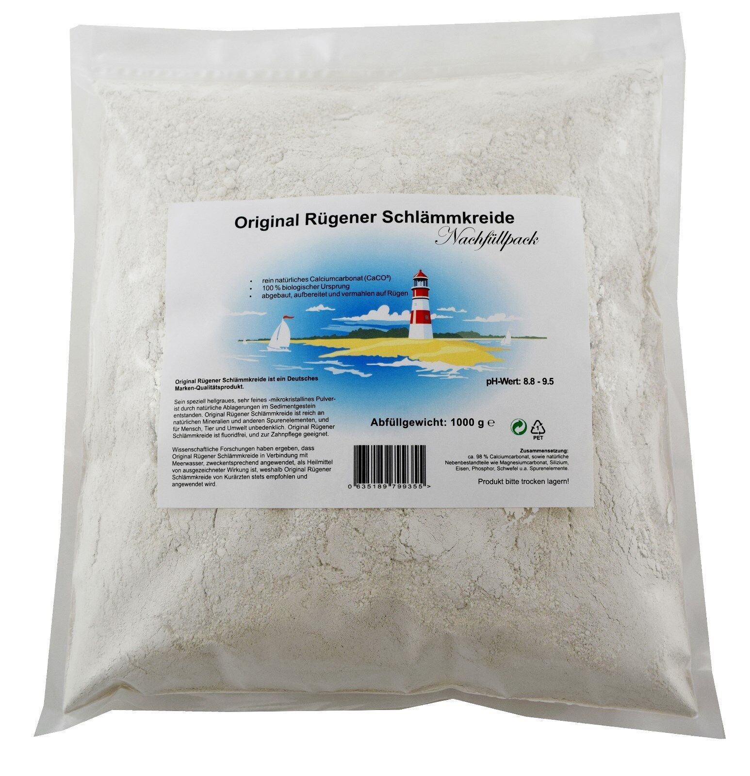 Original Rügener Schlämmkreide / 1000g Nachfüllpack / 100% Naturprodukt