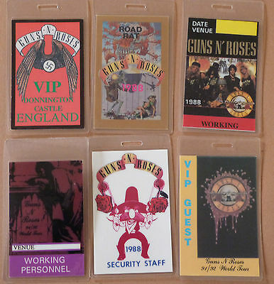 GUNS N ROSES - Collection of SIX Laminated Backstage Tour Passes (X6)