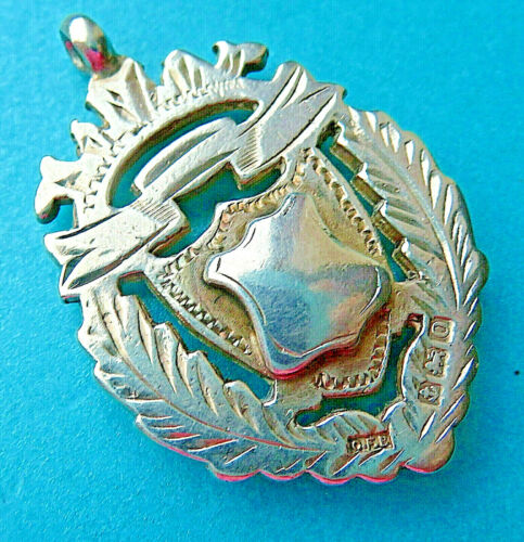 ANTIQUE STERLING SILVER WATCH CHAIN FOB DOUBLE SIDES ENGRAVED ,PENDANT.1913