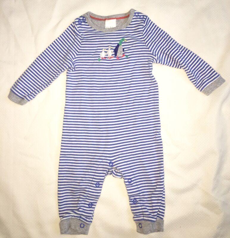 Mini Baby Boden Boys Striped Blue One Piece Long Sleeve Duck Romper Sz 3-6m EUC